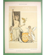 ART NOUVEAU Dekorative Vorbilder Print  - COLOR Nude Muse of Art Cheub - $29.70