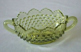 Fenton Hobnail Colonial Green Oval 2 Handled Nut Dish  #3633 CG - $9.90