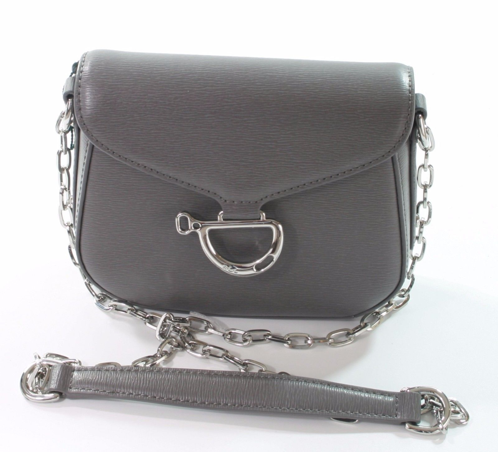Ralph Lauren Newbury Grey Equestrian Mini Shoulder Bag Small Handbag - $202.86