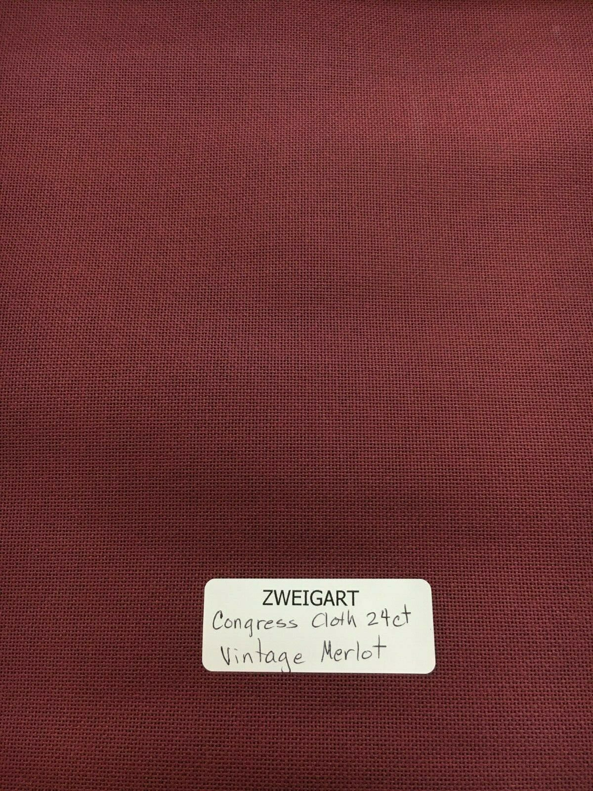 Primary image for Zweigart Congress Cloth Blank 24 Mesh Needlepoint Canvas Vintage Merlot