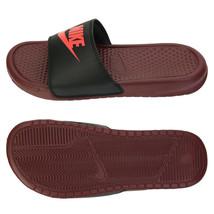 Nike Men's Benassi Just Do It Slides Slipper Black/Wine 343880-601 - $43.99