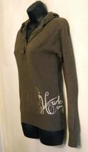 Hurley Hoodie Knit Top size Medium Long Sleeve Brown Logo Shirt Surf Ska... - $25.69