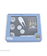 MANCHESTER CITY FC PREMIUM GOLF GIFT TIN, BALLS, BAG TAG, PEN - £18.89 GBP