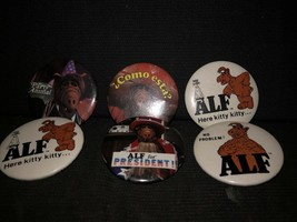 1987 VINTAGE ALF Pinback Buttons 1 3/4 size LOT of 6 pins alien productions - $28.71