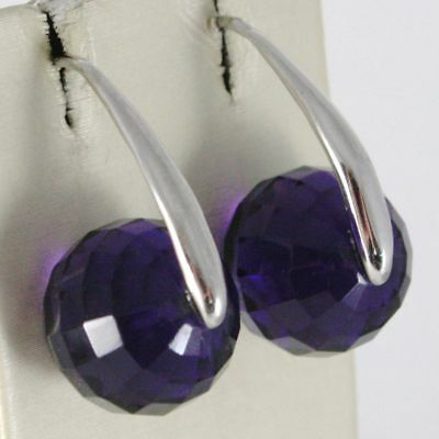 Earrings Silver 925 Rhodium with Zirconia Cubic Violet Faceted