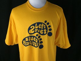 2 Left Feet Blues Festival Adult 2XL Yellow T Shirt The Simsbury Meadows... - $19.79