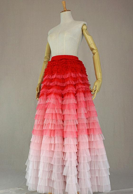 Tulle skirt maxi tiered 10