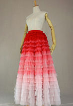 Bridal Tiered Tulle Skirt Outfit A-line Full Tulle Wedding Party Skirt,Red white image 8