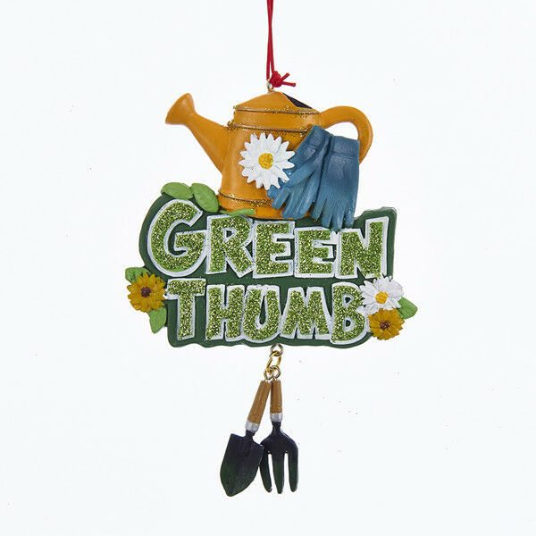 "Primary image for KURT S. ADLER HAND PAINTED RESIN GARDENING ""GREEN THUMB"" WORD SIGN XMAS ORNAMENT"