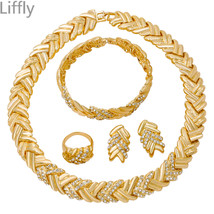 Wedding Party Dubai Gold Jewelry Sets Gift Charm Nigerian Women Crystal Necklace - $38.68
