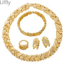Wedding Party Dubai Gold Jewelry Sets Gift Charm Nigerian Women Crystal ... - $38.68
