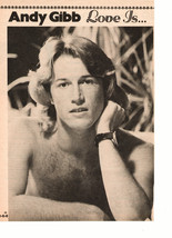 Andy Gibb teen magazine pinup clipping shirtless black and white with a watch