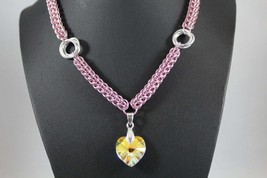 Pink and Silver AB Swarovski Heart Necklace, Chainmaille Full Persian - $35.00