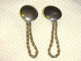Vintage Clip Earrings Gold Tone Disc & Dangling Chain - $8.86