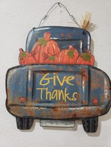 THANKSGIVING FALL GIVE THANKS OLD BLUE RUSTIC TRUCK PUMPKINS HOME DECOR ... - $28.99