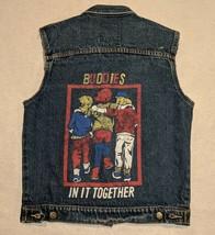 80s Street Worn Custom Buddies In It Together Denim Vest Jacket size S V... - $33.84