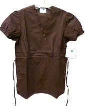 Brown Scrub Set XL V Neck Top Drawstring Pants Women's Medical Uniforms #616/701 image 3