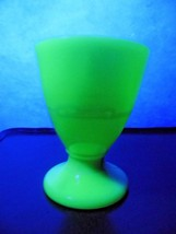 Antique Vaseline Footed Tumbler Custard Slag Glass GLOWS - $25.66