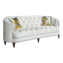 Modern Glam Living Room 3-Piece Sofa Loveseat Chair Couch Set, Off White... - $2,707.50