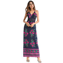 AOVEI Lake Blue Floral Print Chiffon Halter Beach Party Sexy Long Maxi Dress - $29.99