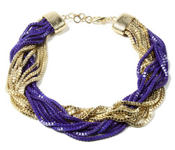 Amrita Singh Noho Gold Purple Multi Chain LARGE Bib Necklace NKC 5073 NWT - $23.27
