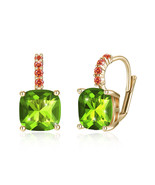 Green crystal earrings using Swarovski crystals & AB spacers SS Studs m... - $9.79