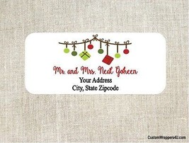 Christmas Holiday Ornaments Return Address Labels Personalized - $4.95