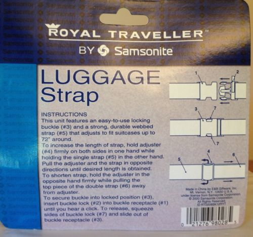 Black Samsonite Royal Traveller NIP Luggage Strap fits suitcases up to 72""