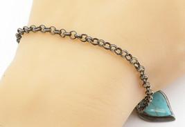 925 Sterling Silver - Vintage Turquoise Love Heart Chain Bracelet - B6060 - $32.16