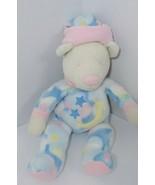 Douglas Cuddle toys Plush Baby fleece teddy bear hat cream pink blue moo... - $26.72