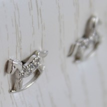 18K WHITE GOLD EARRINGS MINI ROCKING HORSE ZIRCONIA FOR KIDS CHILD MADE IN ITALY image 2