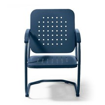 Vintage Collection Outdoor Metal Patio Chair Arm Chair Furniture Dark Blue - $256.90