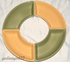 Longaberger Woven Traditions * 4 CRESCENT DISHES * Butternut & Sage, Exc... - $38.99