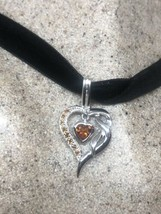 Vintage Red Garnet Deco Heart Choker Necklace 925 Sterling Silver - $133.65