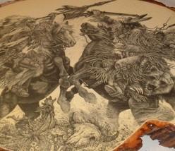Vtg Southwestern Amarind Cowboy Hunter With Bear decoupage print on wood... - $39.55