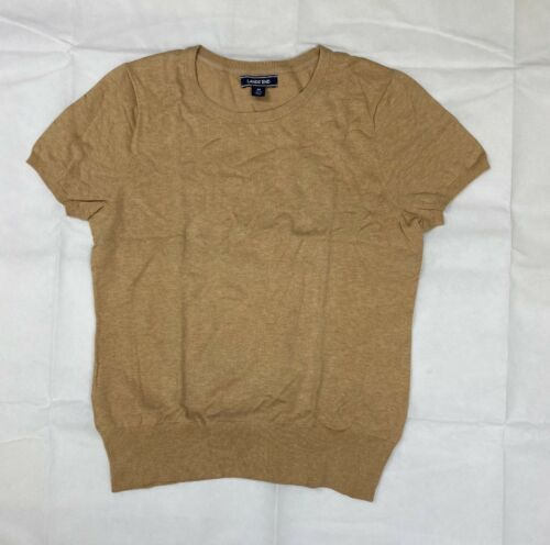 Primary image for Lands End Short Sleeve Supima Cotton Jewel Neck Sweater Women's M Tan Brown