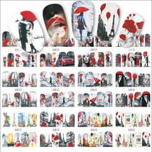 Gam-Belle® 12 Designs Valentine Gift Sticker Couple/Maple Nail Transfer ... - $1.97