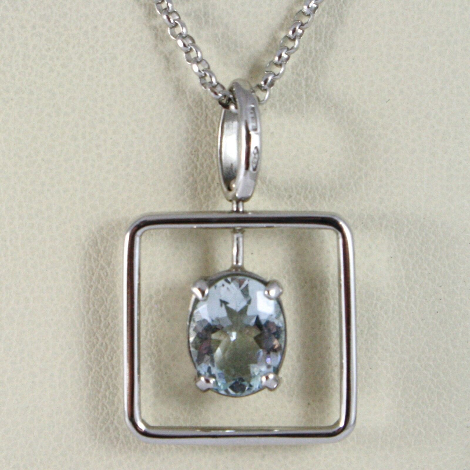 Necklace White Gold 750 - 18K Aquamarine Cut Oval CT 1.80, Chain Rolo '