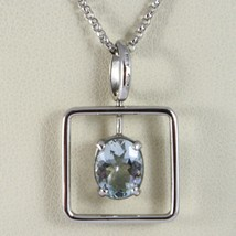 Necklace White Gold 750 - 18K Aquamarine Cut Oval CT 1.80, Chain Rolo ' image 1