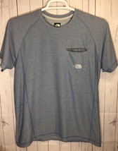 The North Face Mens Sz M Blue Pocket FlashDry Crewneck Athletic Tee T-Shirt - $13.81