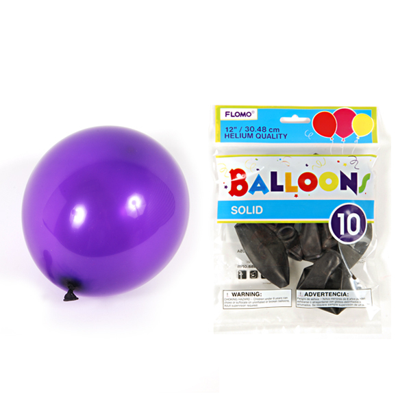 12 Inch Solid Color Hot Purple Balloons/Case of 360