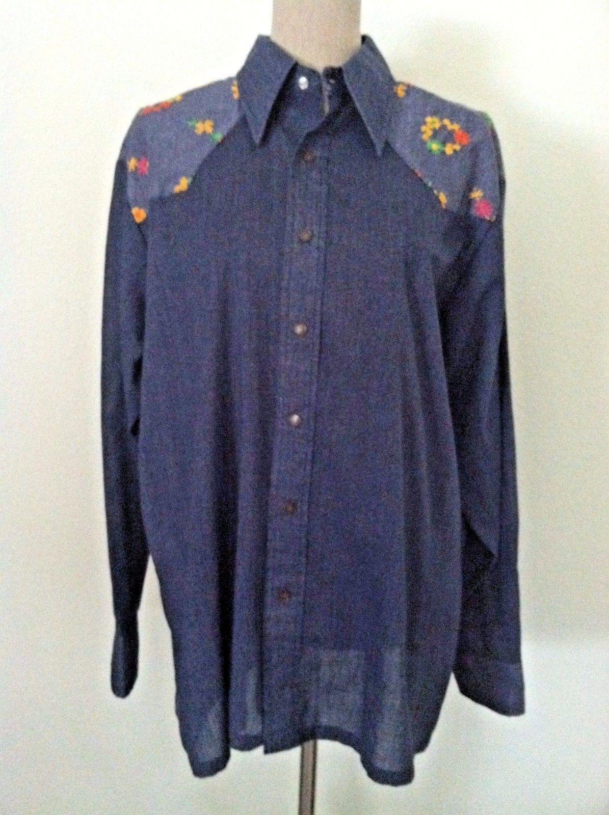 1c1acc800de Vintage 70 s Wrangler women shirt Western snap button down floral  embroidery M L -  50.86