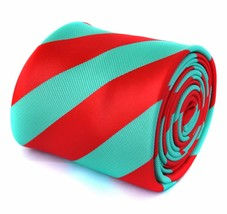 Frederick Thomas mint green and red barber striped mens tie FT1772