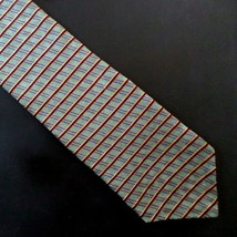 Vintage Mens Necktie NEO Bill Blass Greenish-Gray, Maroon, Gold 100% Silk - $12.55