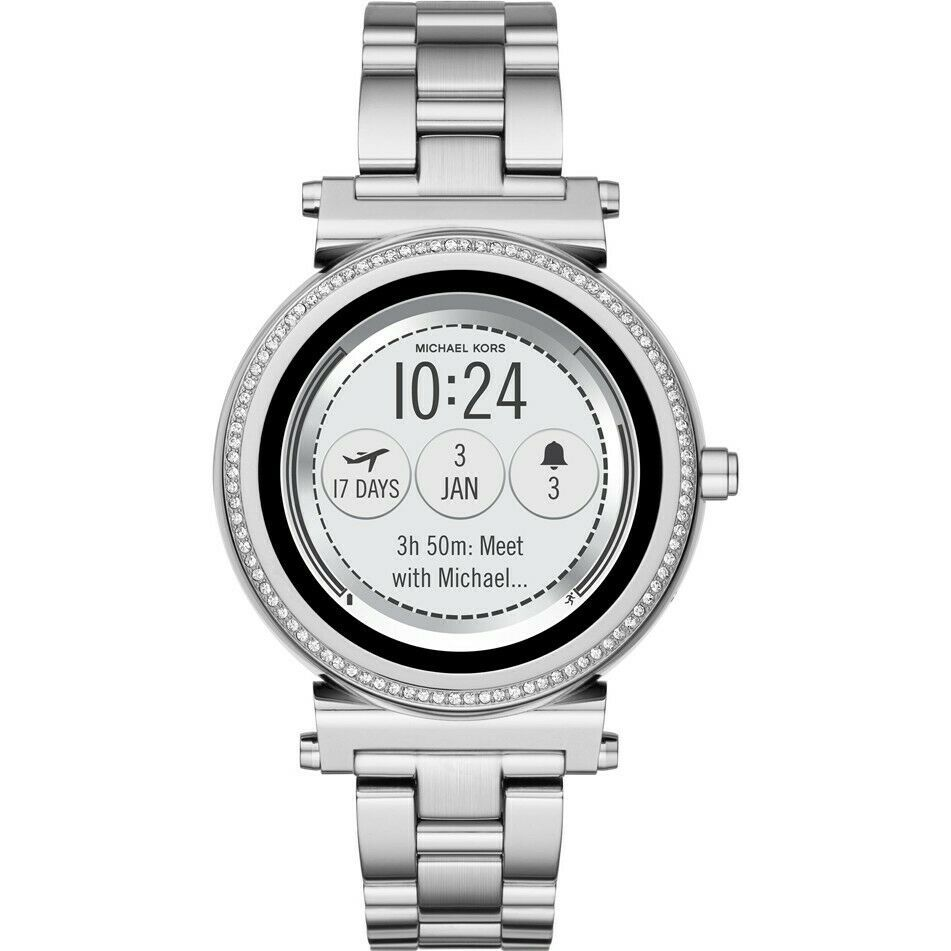 Primary image for Michael Kors Access MKT5020 Sofie Stainless Silver Smartwatch 42MM NEW SEALED
