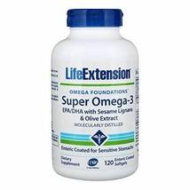 NEW Life Extension Super Omega-3 EPA/DHA Non-GMO Enteric Coated 120 softgels - $26.42