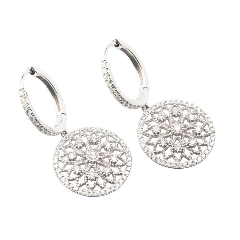 Luxury Diamond Drop Earrings 18k White Gold Female Lace Flower Design
