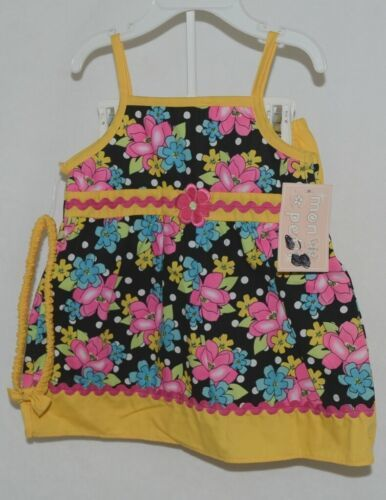 Mon Petit Yellow Black Flowered Babydoll Top Bloomers Elastic Headband 24 Month