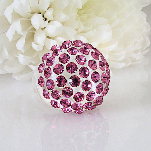 New Clear Acrylic Domed Ring Made With Pink Swarovski Elements Crystals On Dome image 4