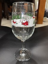 Clear Wine Glass Winter Village Snow Christmas Holiday Libbey - $6.15